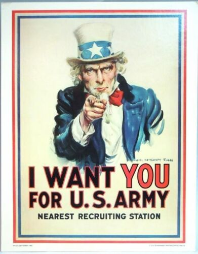 """11"""" x 14"""" Recruiting Poster Heavy Stock Poster I Want You for U. S. Army 1983Original Period Items - 13983"""