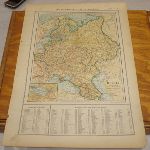 1908 Colliers Antique COLOR Map/RUSSIA, b/w NORTHERN FRANCE