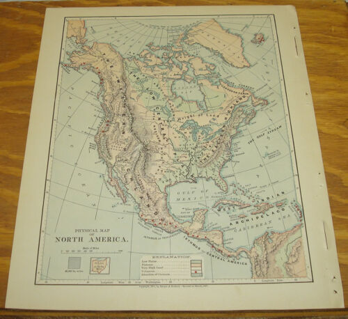 1887 Harpers Antique COLOR Map/NORTH AMERICA (Physical)