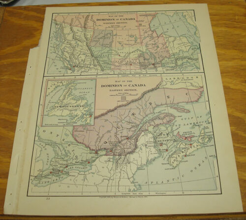 1887 Harpers Antique COLOR Map/CANADA