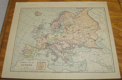 1887 Harpers Antique COLOR Map/EUROPE (Political)