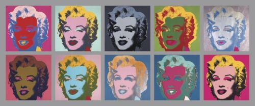 Ten Marilyns, 1967 by Andy Warhol Art Print - Marilyn Monroe Poster 22x52.75