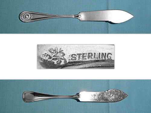 WHITING MFG STERLING FLAT HANDLE MASTER BUTTER KNIFE ~ BEAD ~ NO MONO