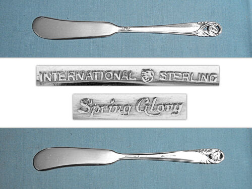 INTERNATIONAL STERLING FLAT HANDLE BUTTER SPREADER(S) ~ SPRING GLORY ~ NO MONO