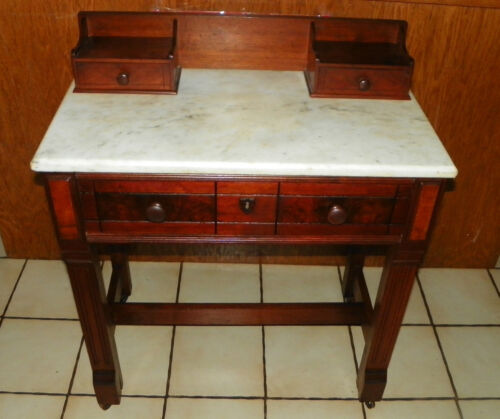 Walnut Eastlake Burl Paneled  Marble Top Writing Desk  (DR21)