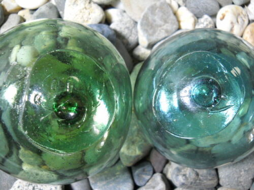 2 Glass Japanese Glass Floats, SMILEY FACES,  Alaska BeachCombed