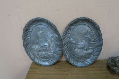 "Pair @ 2 Antique German Rothenburg Hand Sculpted Pewter Wall Plaque Decor 7""x10"""