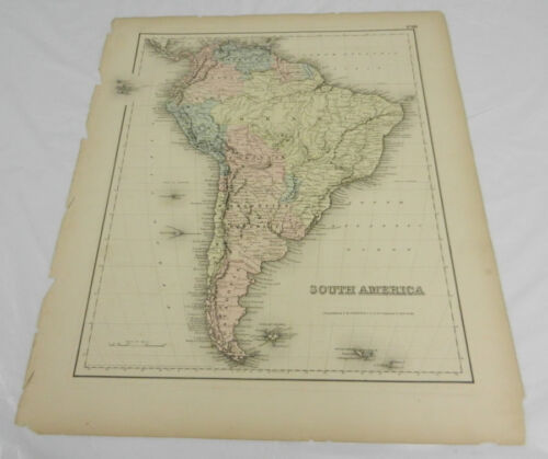 1857 Antique Colton COLOR Map of SOUTH AMERICA/Hand-Colored