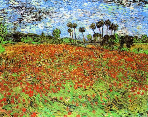 Poppy Fields by Vincent Van Gogh Giclee Fine Art Print Reproduction on Canvas
