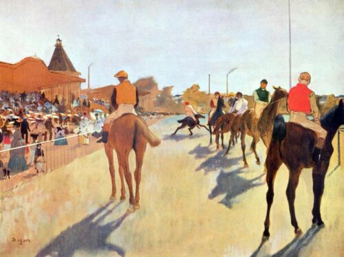 Jockeys in front of the grandstand by Edgar Degas Giclee Print Repro on Canvas