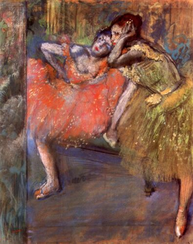 Two dancers behind the scenes by Edgar Degas Giclee Fine Art Repro on Canvas