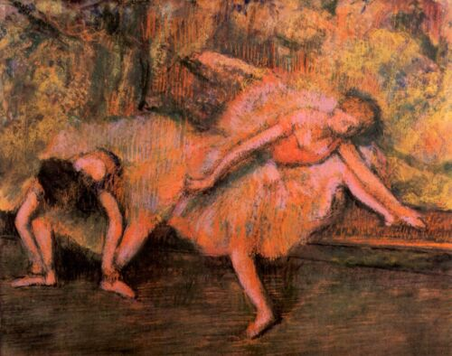 Two dancers on a bank by Edgar Degas Giclee Fine Art Print Repro on Canvas
