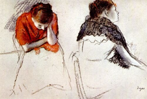 Two women seated by Edgar Degas Giclee Fine Art Print Reproduction on Canvas