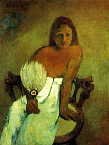 Young Girl with Fan by Paul Gauguin Giclee Fine ArtPrint Reproduction on Canvas