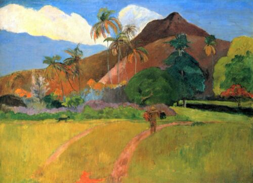 Mountains in Tahiti by Paul Gauguin Giclee Fine ArtPrint Reproduction on Canvas