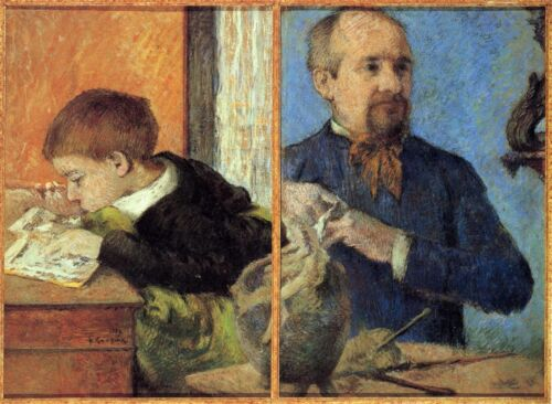 Portrait of Sculptor with Son by Paul Gauguin Giclee Fine ArtRepro on Canvas