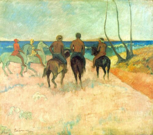 Riding on the Beach #2 by Paul Gauguin Giclee Print Reproduction on Canvas