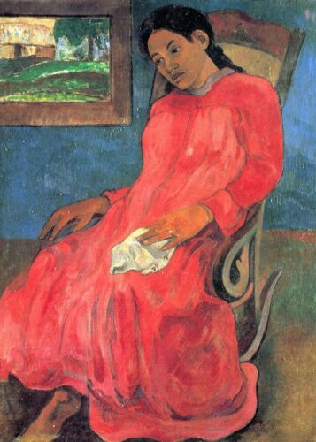 Woman in Red Dress by Paul Gauguin Giclee Fine ArtPrint Reproduction on Canvas