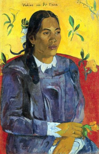 Woman with Flower by Paul Gauguin Giclee Fine ArtPrint Reproduction on Canvas