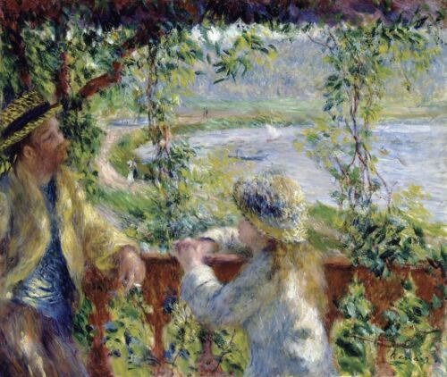 Near the Lake (By the Water) by Pierre-Auguste Renoir Giclee Repro on Canvas
