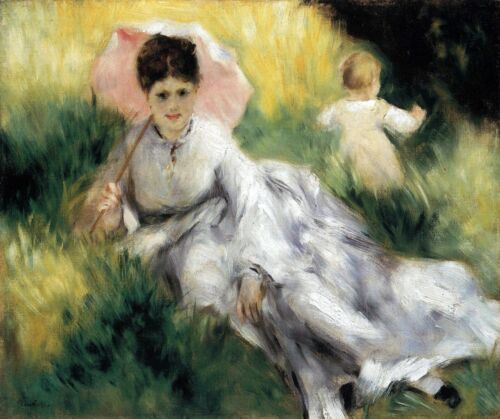 Woman with Parasol by Pierre-Auguste Renoir Giclee Fine ArtRepro on Canvas