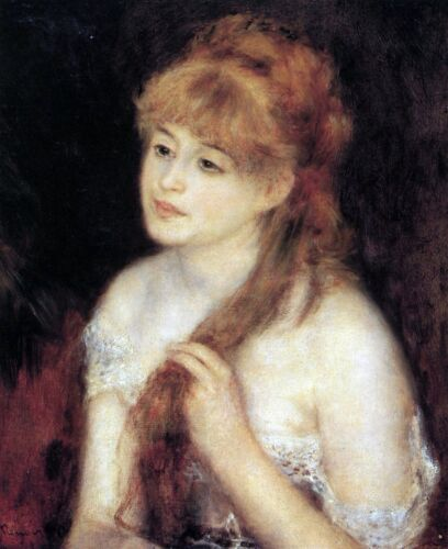 Young woman strokes her hair by Pierre-Auguste Renoir Giclee Repro on Canvas