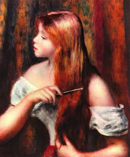 Combing girl by Pierre-Auguste Renoir Giclee Fine ArtPrint Repro on Canvas