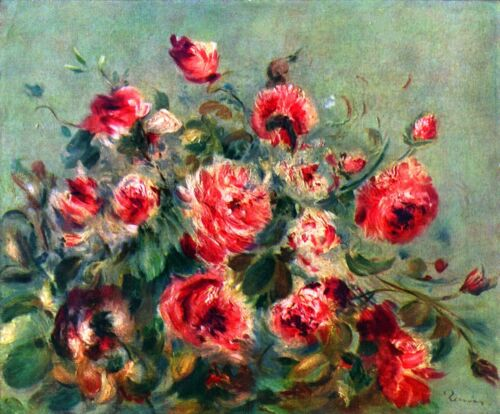 Still life roses of Vargemont by Pierre-Auguste Renoir Giclee Repo on Canvas