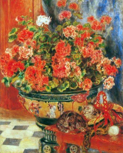 Geraniums and cats by Pierre-Auguste Renoir Giclee Print Repro on Canvas