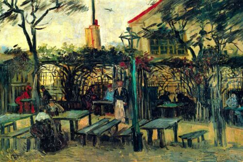 Terrace of a Cafe by Vincent Van Gogh Giclee Fine Art Print Repro on Canvas