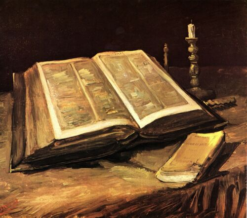 Still Life with Bible by Vincent Van Gogh Giclee Fine Art Print Repro on Canvas