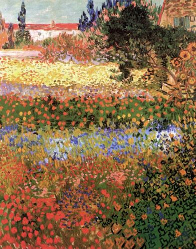 Flowering Garden by Vincent Van Gogh Giclee Fine Art Print Repro on Canvas
