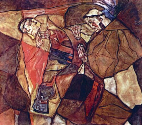 Agony (The Death Struggle) by Egon Schiele Giclee Fine Art Print Repro on Canvas