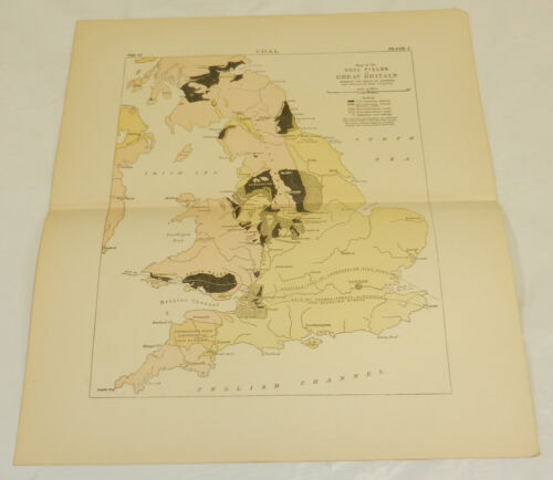1877 Antique COLOR Map/COAL FIELDS OF GREAT BRITAIN///c