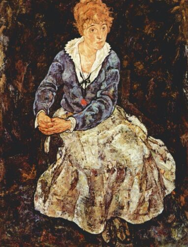 Portrait of Edith Schiele sitting by Egon Schiele Giclee Print Repro on Canvas