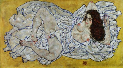 Resting nude by Egon Schiele Giclee Reproduction on Canvas