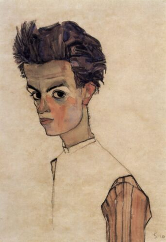 Self-Portrait by Egon Schiele Giclee Fine Art Print Repro on Canvas