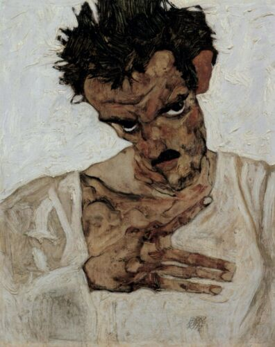Self-portrait with lowered head by Egon Schiele Giclee Print Repro on Canvas