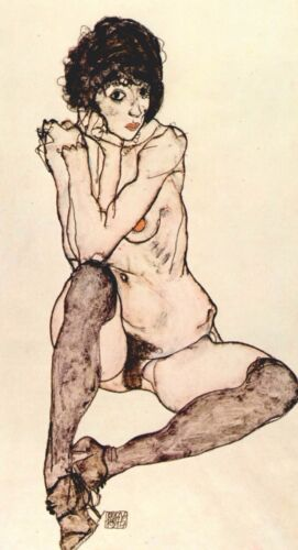 Sitting female nude by Egon Schiele Giclee Fine Art Print Repro on Canvas