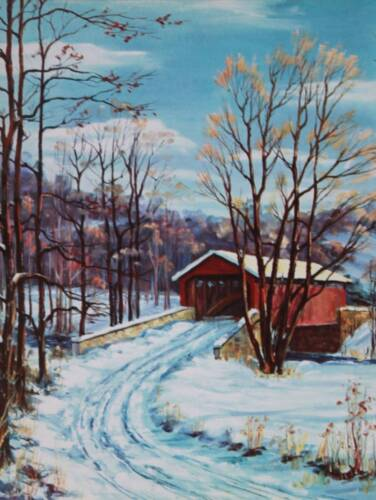 """vintage 50s print """"Bridge at Rexes"""" by Clarence Dreisbach"""