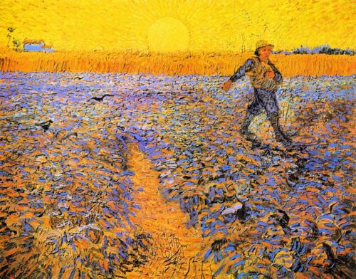 Sower under the Sun by Vincent Van Gogh Giclee Print Reproduction on Canvas