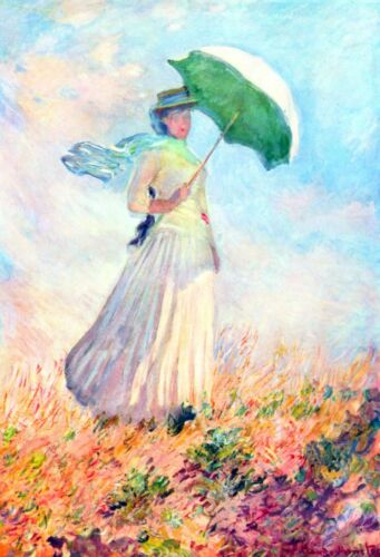 Lady with sunshade, study by Claude Monet Giclee Fine ArtPrint Repro on Canvas
