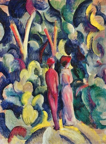 Couple in the forest by August Macke Giclee Fine ArtPrint Repro on Canvas