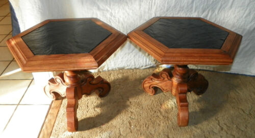 Pair Oak Mid Century End Tables with Black Marble Slate Tops  (JLC-T282)