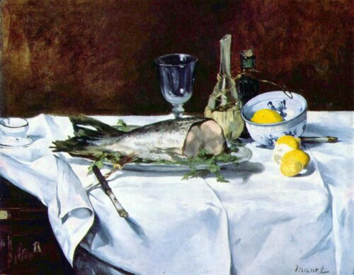Still Life with Salmon by Manet Giclee Fine ArtPrint Reproduction on Canvas