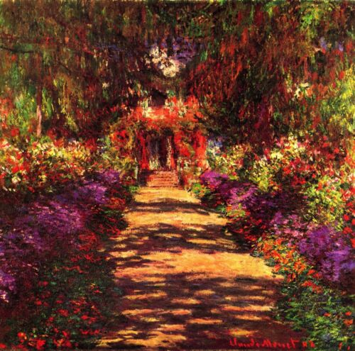Path in Monets garden in Giverny by Claude Monet Giclee Reproduction on Canvas
