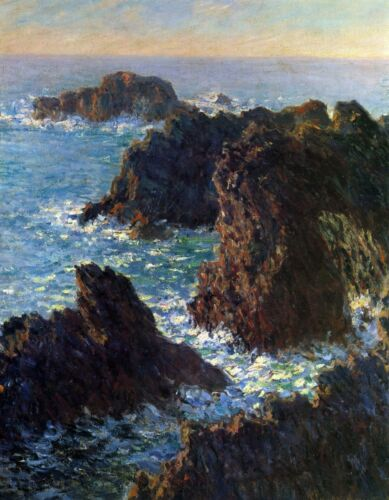 Rocky peaks at the Belle-Ile by Claude Monet Giclee Reproduction on Canvas