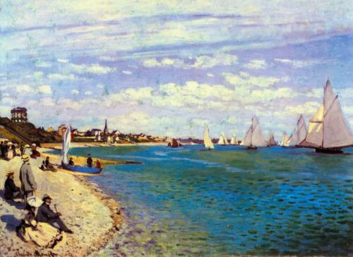 The Beach at Sainte Adresse by Claude Monet Giclee Reproduction on Canvas