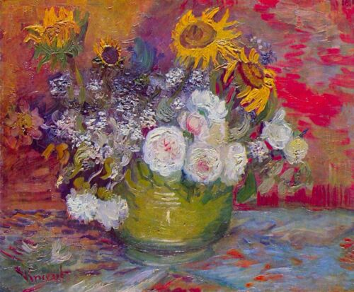 Still-life with roses and sunflowers by Van Gogh Giclee Print Repro on Canvas