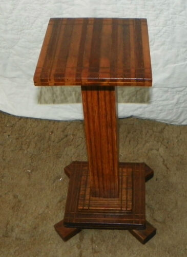 Mahogany Walnut Oak Marquetry Inlaid Plant Stand  (PS69)